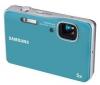 SAMSUNG WP10 modrý + Pouzdro kompaktní kožené 11 x 3,5 x 8 cm + Pameťová karta SDHC 4 GB + Čtecka karet 1000 v 1 USB 2.0