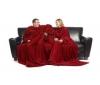 Dvojitá deka Slanket - tmave cervená + Deka Travel Slanket - fialová