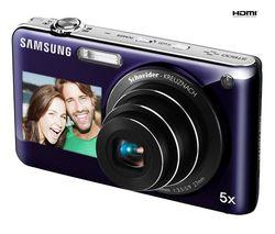 SAMSUNG ST600 - Digital camera - compact - 14.2 Mpix - optical zoom: 5 x - supported memory: microSD, microSDHC - violet + Pouzdro kompaktní kožené 11 x 3,5 x 8 cm + Pameťová karta SDHC 8 GB