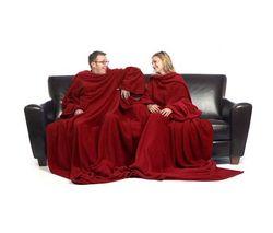 SLANKET Dvojitá deka Slanket - tmave červená + Deka Travel Slanket - fialová